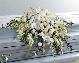 Casket Spray; All white, pure as Heaven!