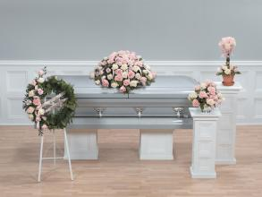 Funeral Combo, 4 Piece, Roses Pink and Creams