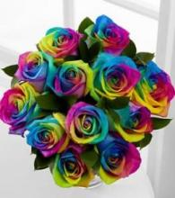 "Rainbow Roses Vase, ""SPECIAL ORDER ONLY! \""Limited Supply\"" Import"