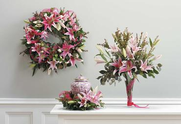 "Wreath only, Lily & Euc 18"" Wreath."