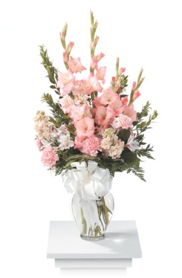 Vase Arrangement, Gladiolas, Stocks, Carnations, Alstromeria