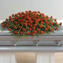 A Life Well Lived Full, Carnation Casket Spray