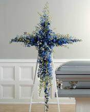 Cross w/Blue Delphinium