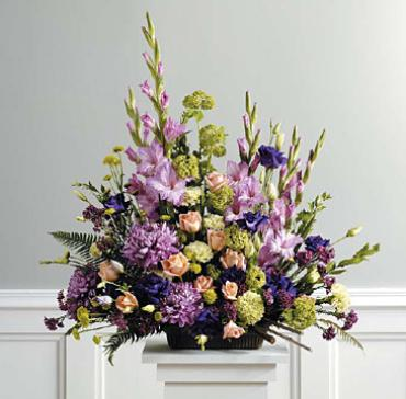 Purple backdrop arrangement