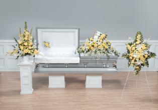 Funeral Combo, White Orchids, Roses, Glads & Lillys