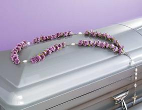 Casket Rosary, Purple Roses