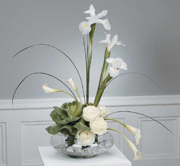 Contemporary Callas, Iris,and Roses with Cabage