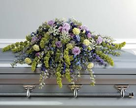 Casket Spray; Purple, Green and White