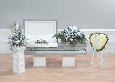 Funeral Combo, 4 Pieces, Blue & White Mixed Flowers.