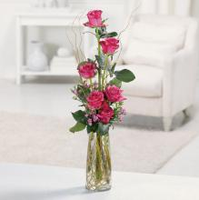Heavenly Half-Dozen Pink Rose Vase