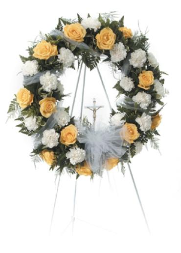 Wreath Yellow Roses & White Carnations