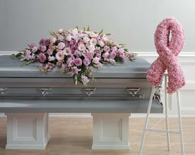 Funeral Combo, Casket Spray & Pink Ribbon Spray,