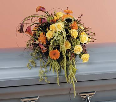 Casket Spray ; Callas and Roses, Sunflowers and Gerbera