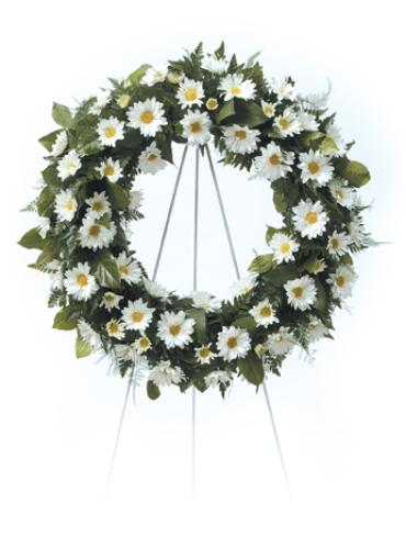 Wreath Open. Daisy Flowers W/ Greens