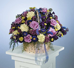 Flower Basket, Purples and Yellow