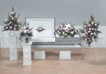 Funeral Combo, Mixed Purple & White, 5 Pieces.