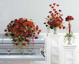 Funeral Casket Spray Combo; Red Rose Grandeur
