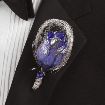 Glittered Blue-Dyed Rose Boutonniere