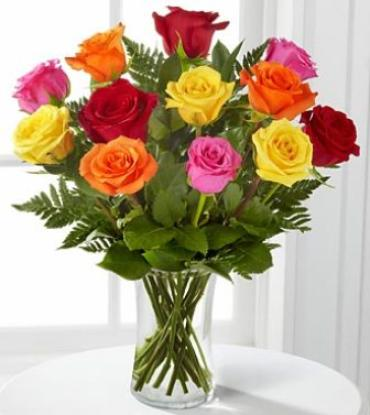 Mixed Color Roses, A Beautiful Dozen Vase
